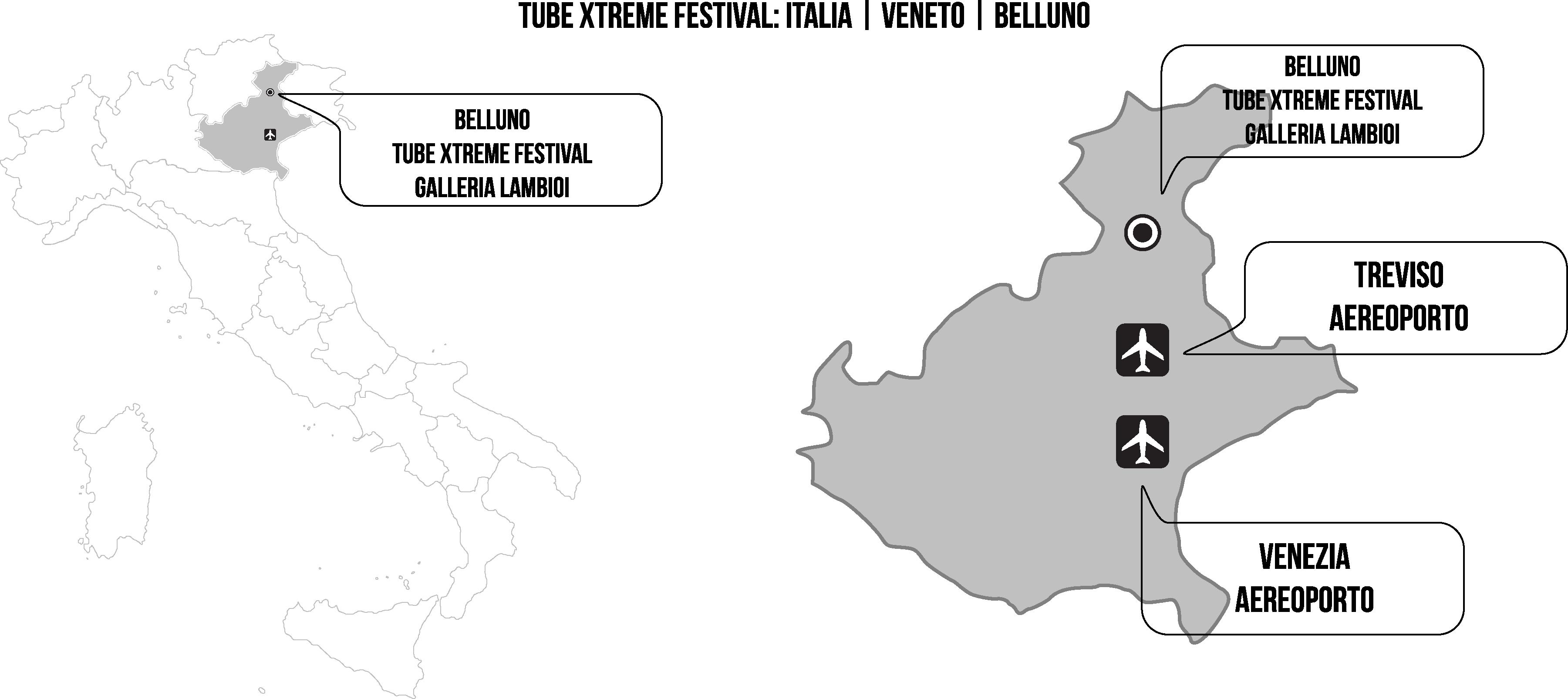 Tube Xtreme Festival - Mappa su come arrivare a Belluno